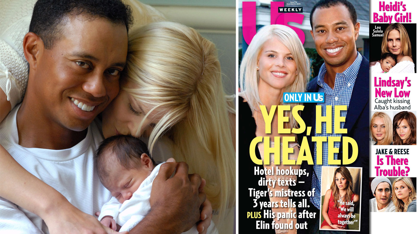 The Woods family in 2007 and the 2009 'US Weekly' featuring Tiger Woods