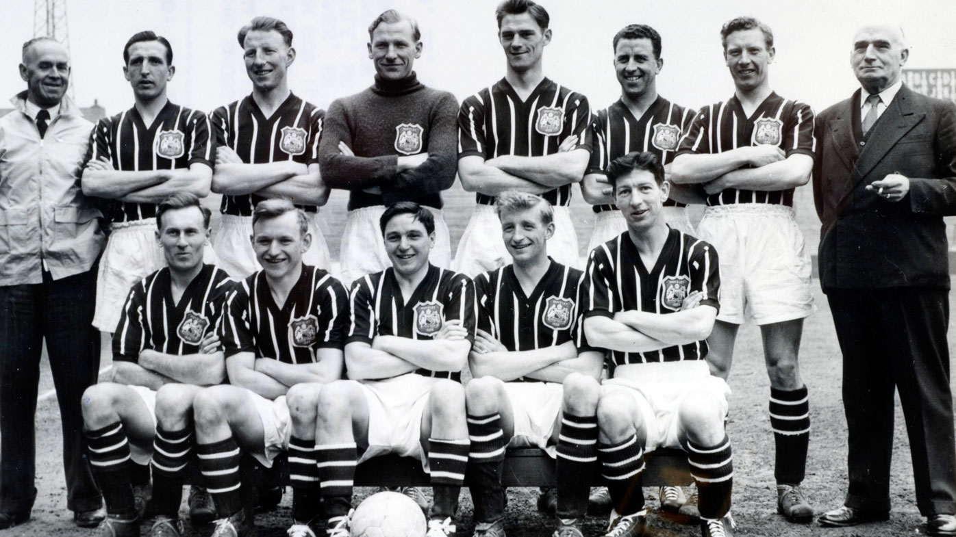 The Manchester City team that played in the 1956 FA. Cup Final beating Birmingham City 3-1