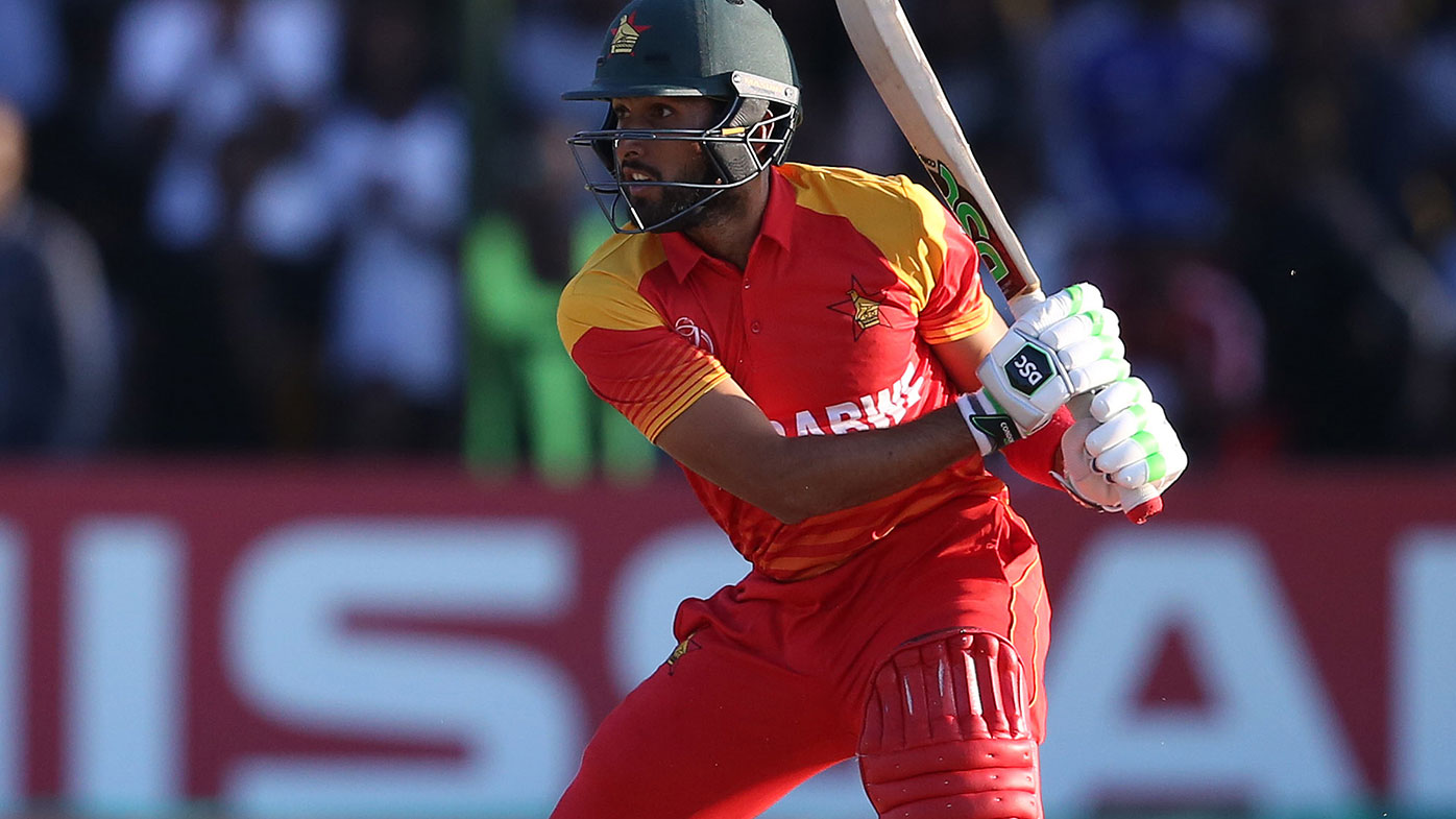Zimbabwe's Sikander Razza batting during the World Cup qualifiers.