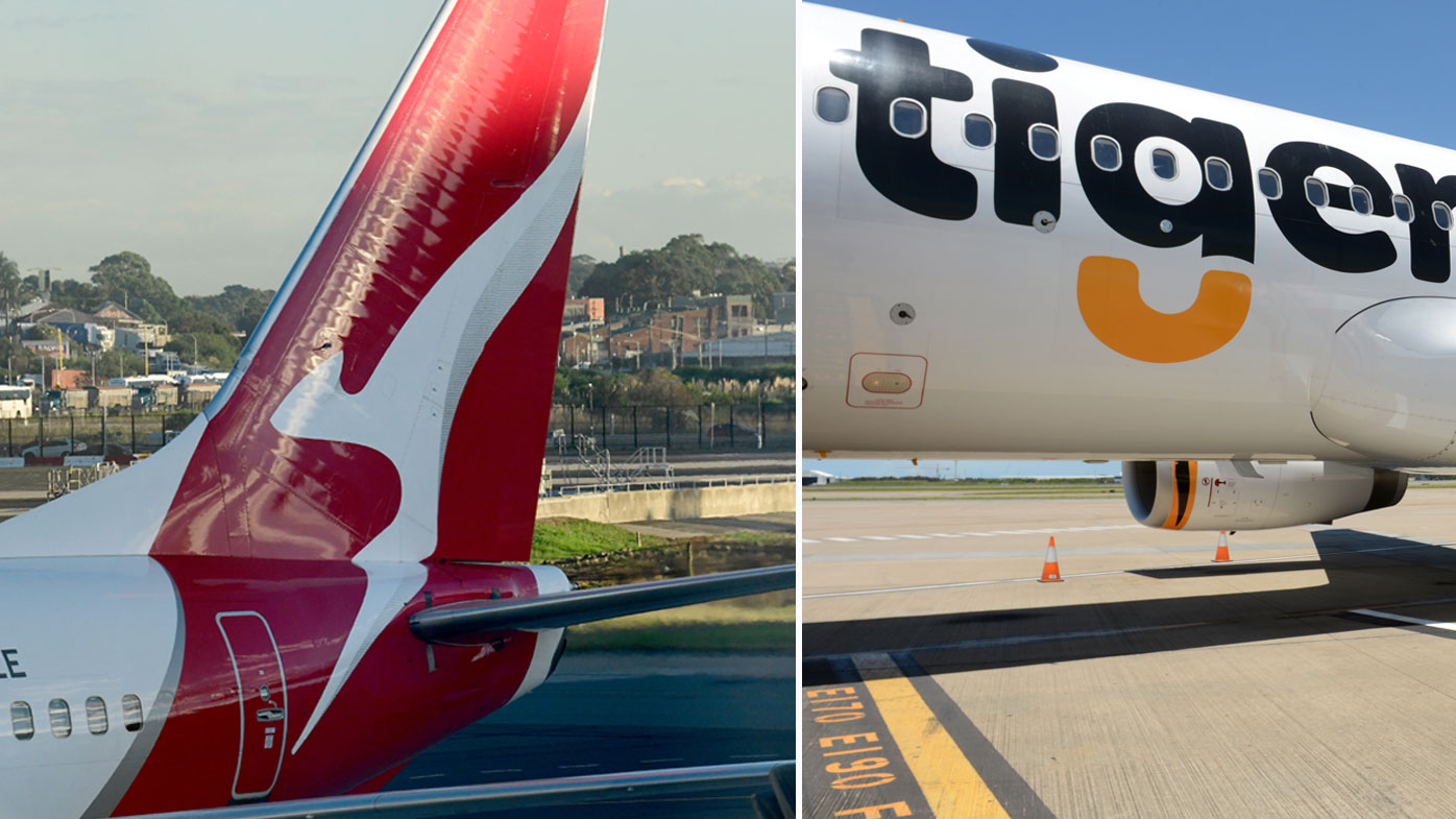 Qantas and Tiger airlines planes.
