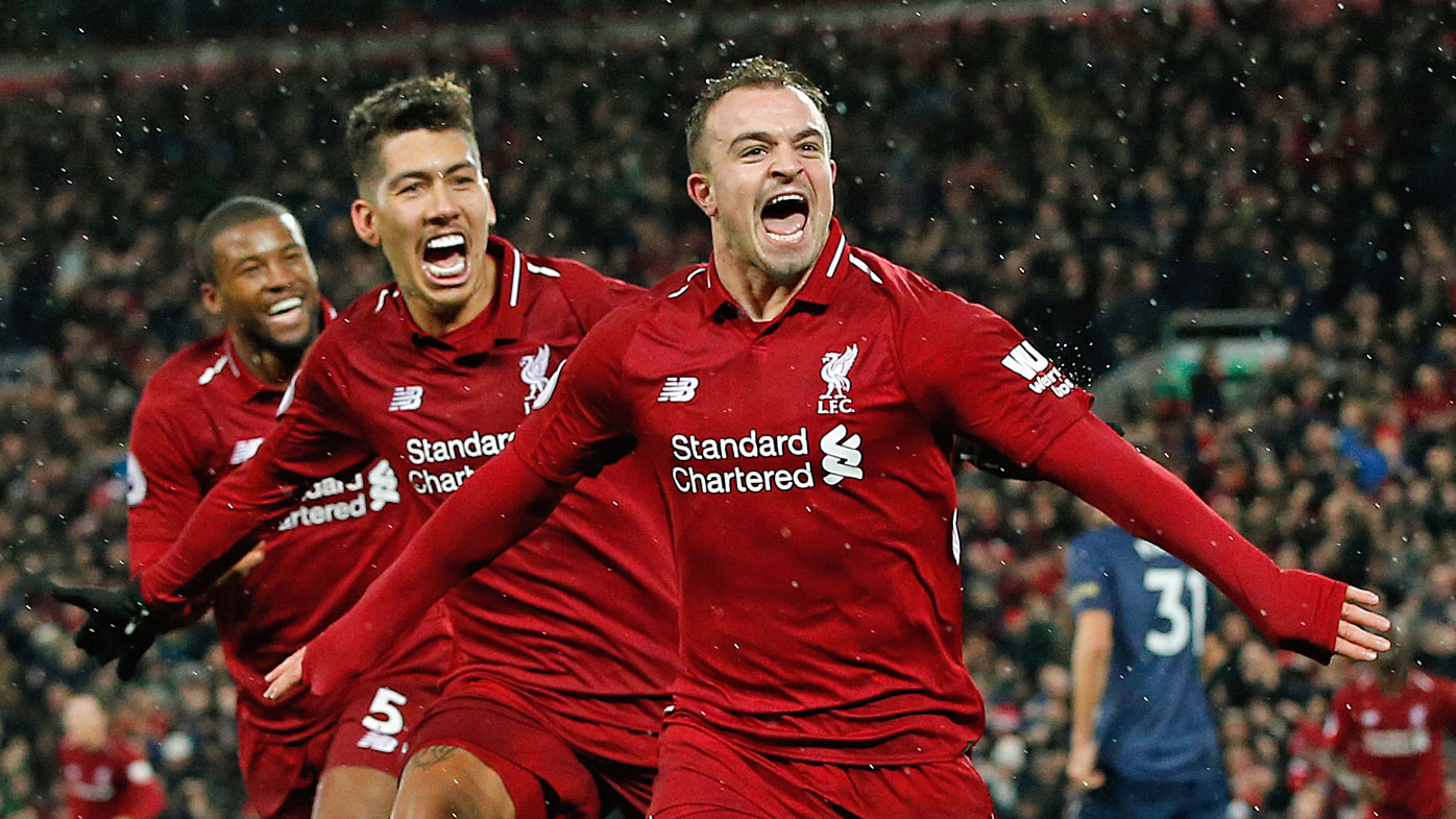 Shaqiri celebrates score his second goal