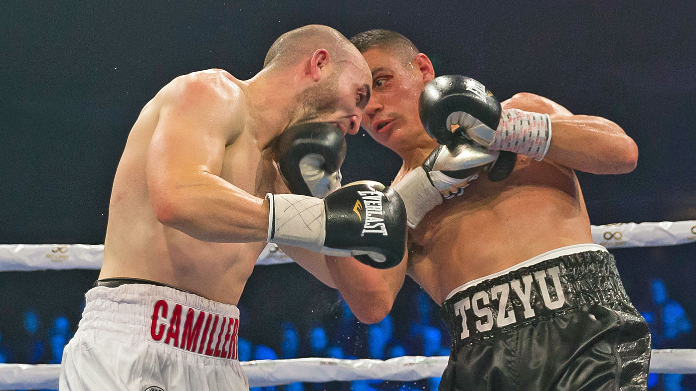 Australian boxers Tim Tszyu (right) and Joel Camilleri
