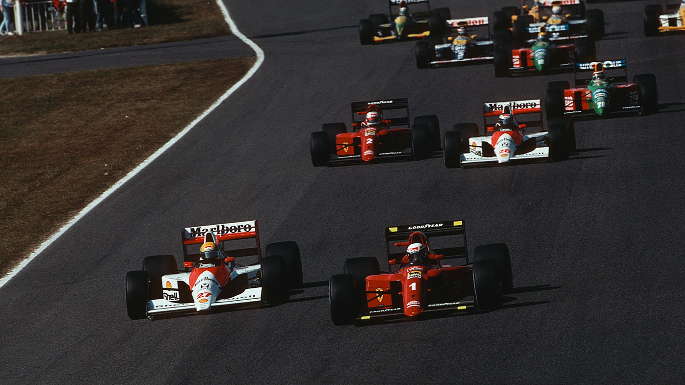 The start of the 1990 Japanese Grand Prix, with Ayrton Senna (left) challenging Alain Prost.