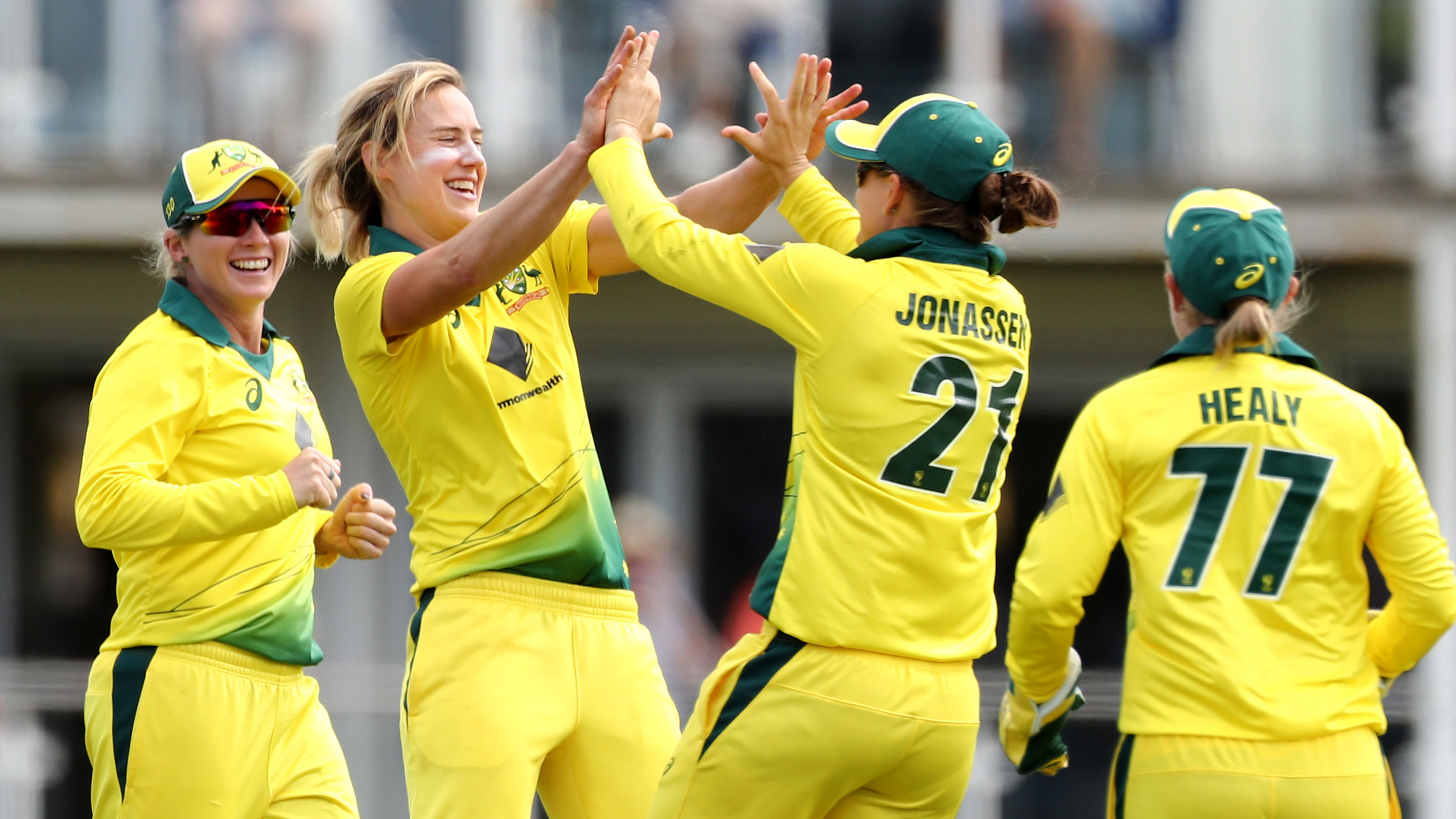 Ellyse Perry celebrates one of her seven wickets in the third ODI against England.