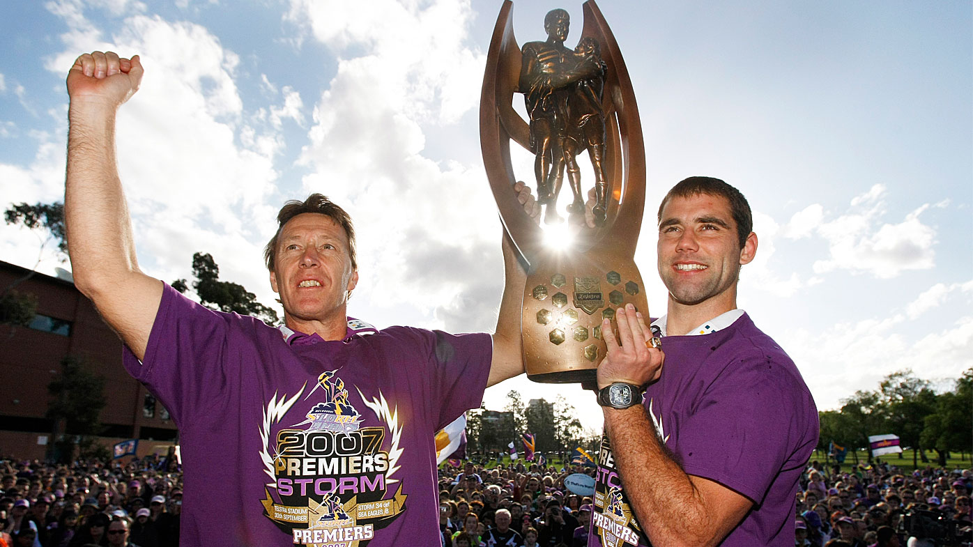 Craig Bellamy and Cam Smith celebrate their 2007 NRL Premiership