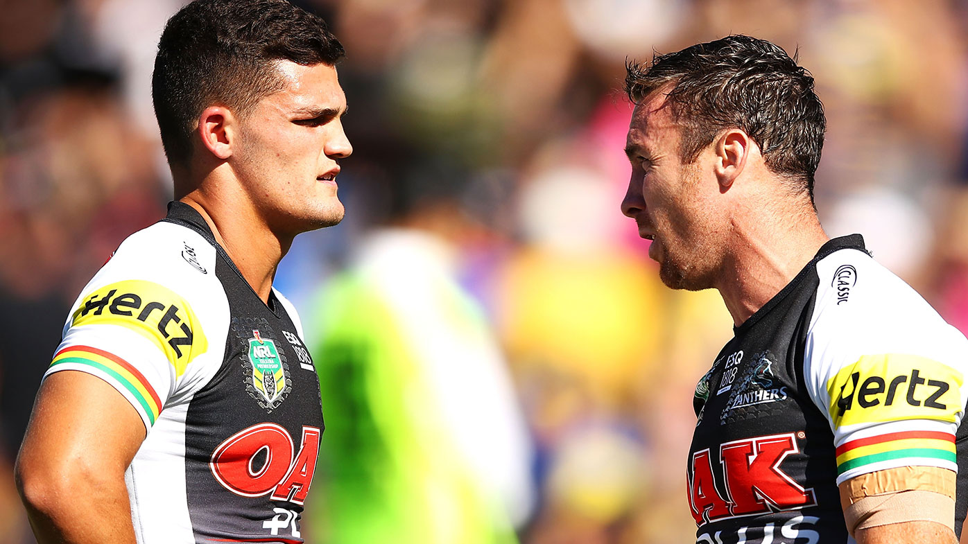 Nathan Cleary (left) and James Maloney.