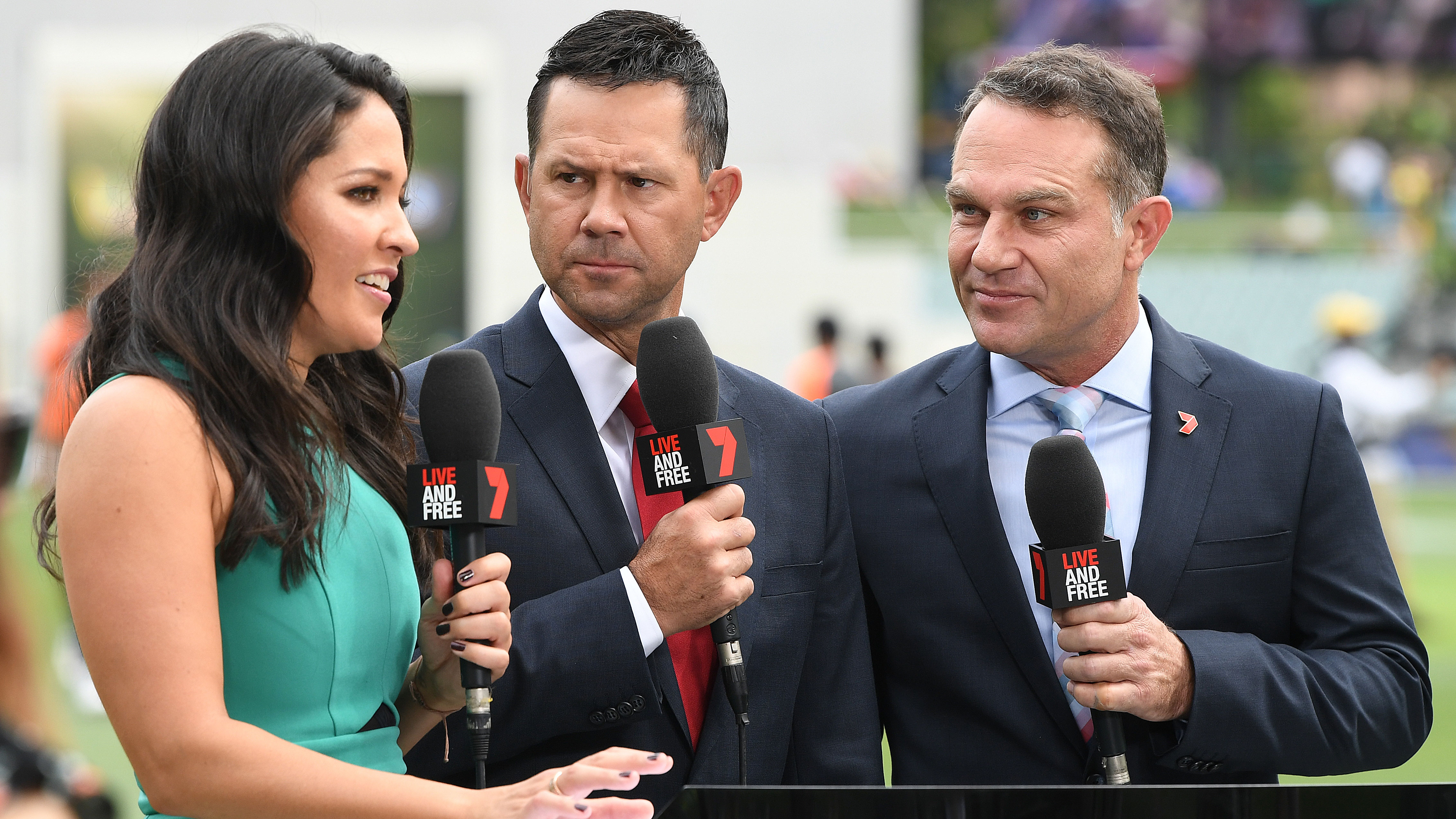 Michael Slater (right) is a cricket commentator for Channel 7.