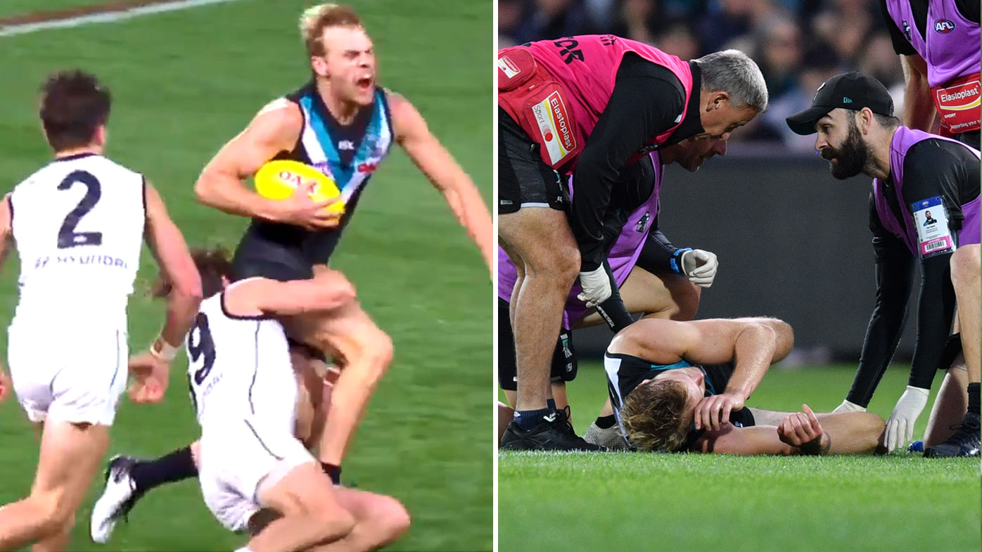 Jack Watts goes down in Port victory