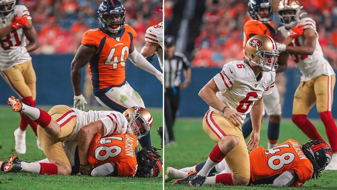 Mitch Wishnowsky laid a crunching tackle on Devontae Jackson