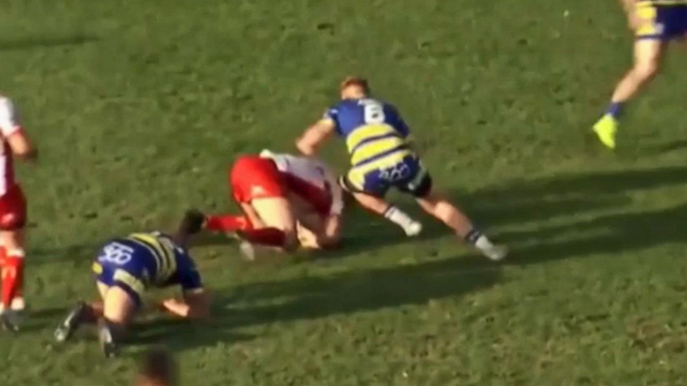 Blake Austin tackles Joel Tomkins