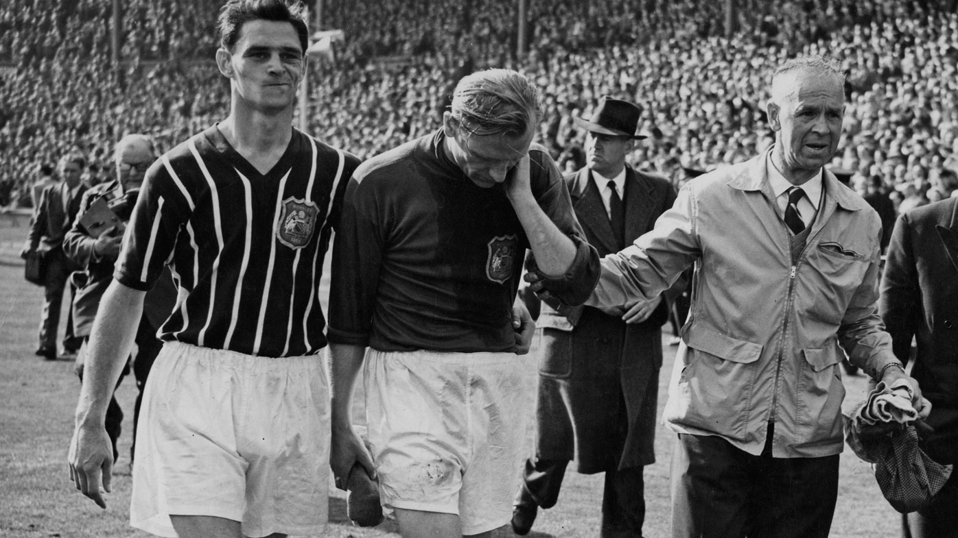 Bert Trautmann after the 1956 FA Cup final.