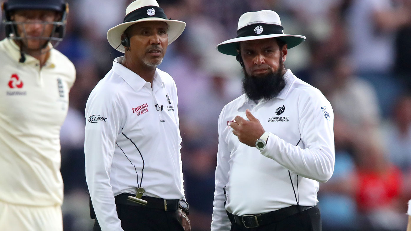 Umpires during the first Ashes Test