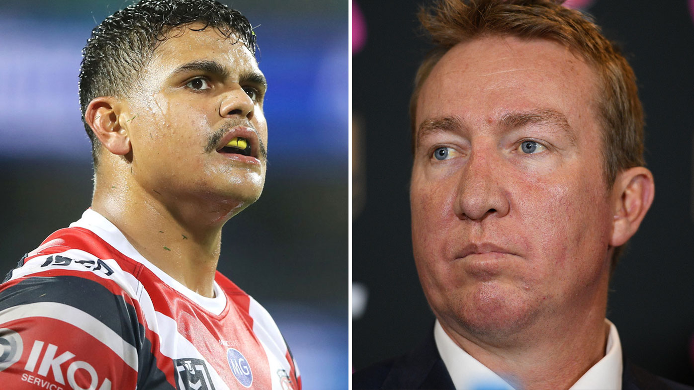 Latrell Mitchell and coach Trent Robinson