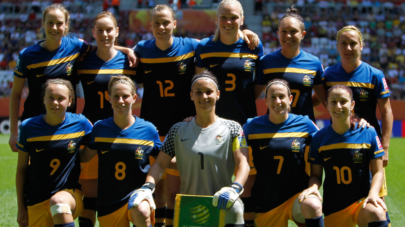 Australia's Ellyse Perry, Collette McCallum, Emily Van Egmond, Kim Carroll, Kyah Simon, Lisa De Vanna, from top left, and, from bottom left, Caitlin Foord, Elise Kellond-Knight, goalkeeper Melissa Barbieri, Heather Garriock, Servet Uzunlar