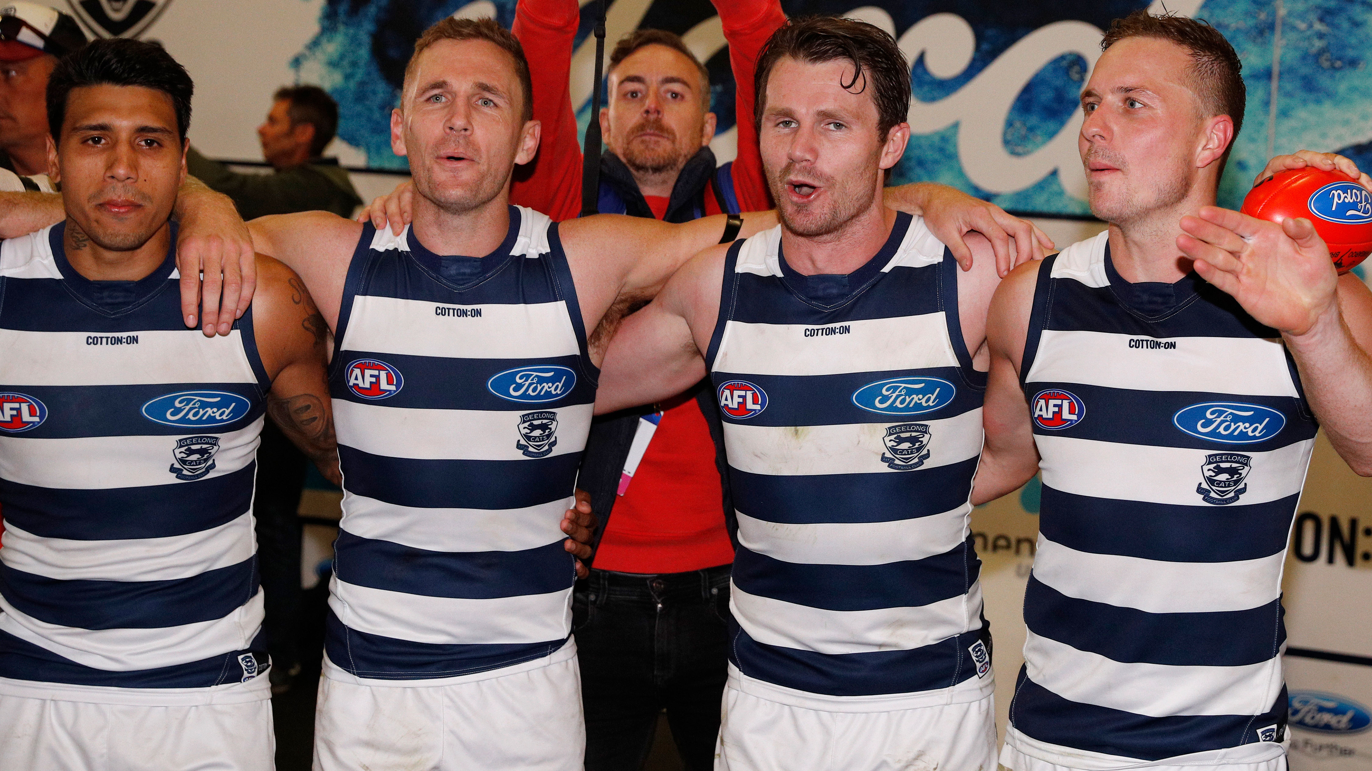Tim Kelly (left) is a key member of a star-studded Geelong midfield.