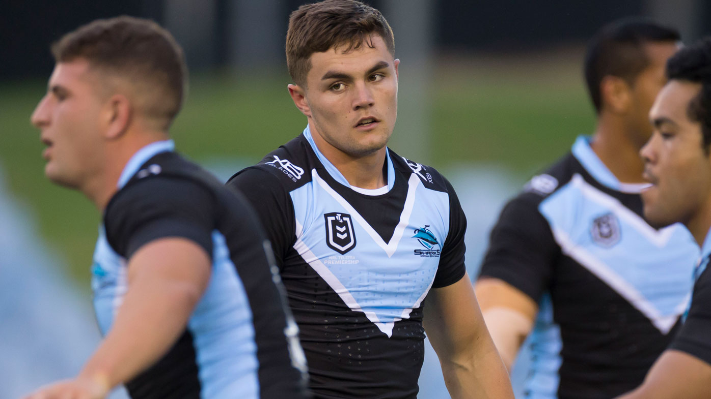 Kyle Flanagan trains with the Sharks