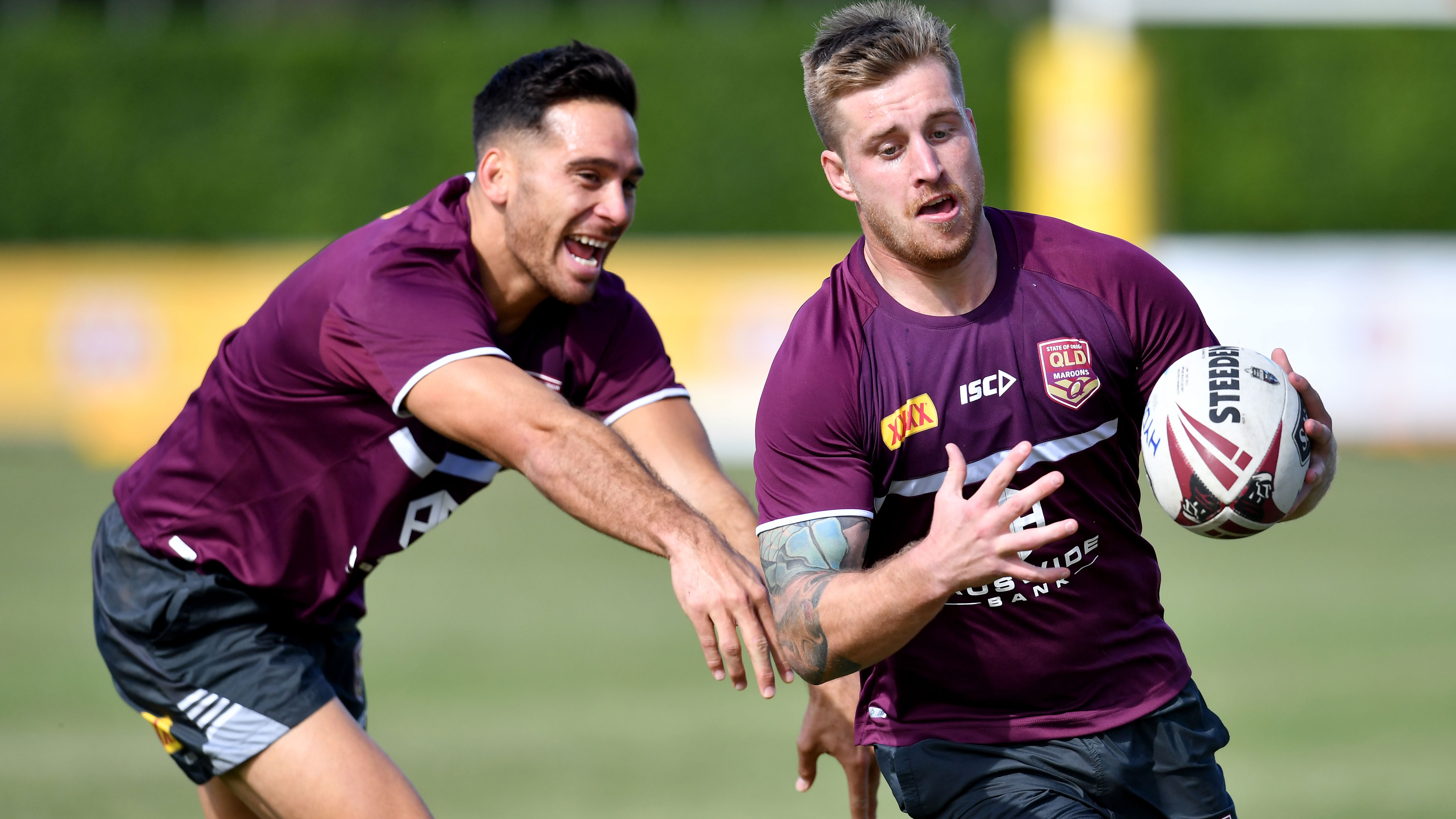 Corey Norman and Cameron Munster training with the Maroons.