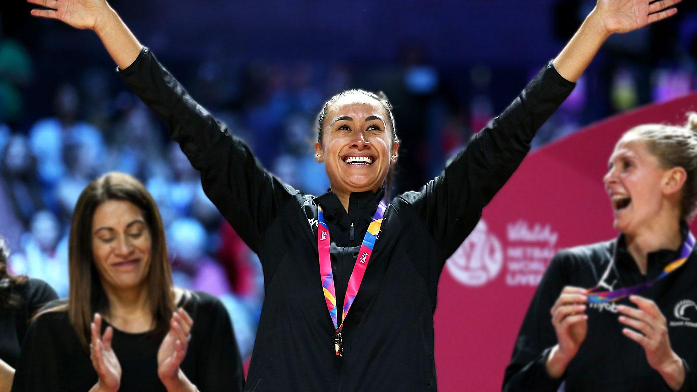 Maria Folau celebrates winning the Netball World Cup