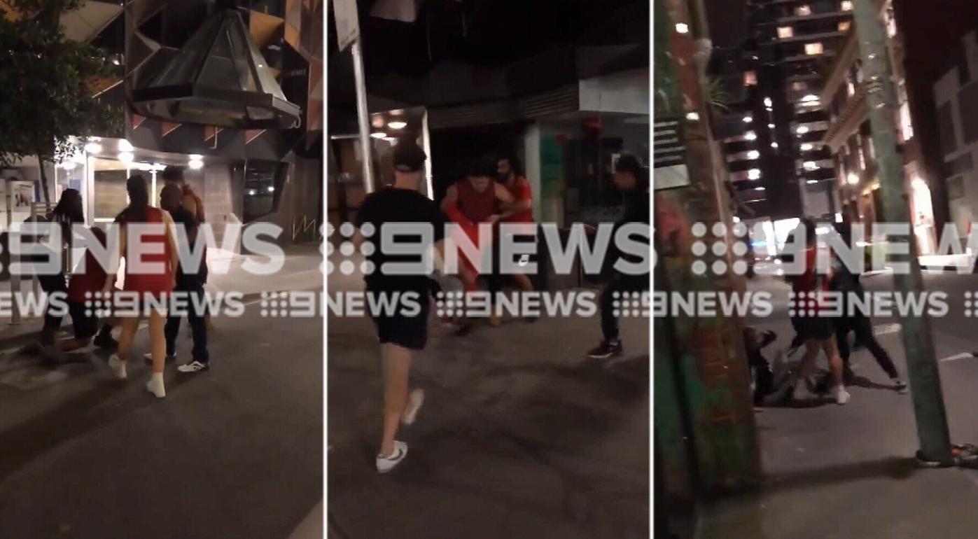 Violent brawl in Melbourne CBD involving blade and small axe