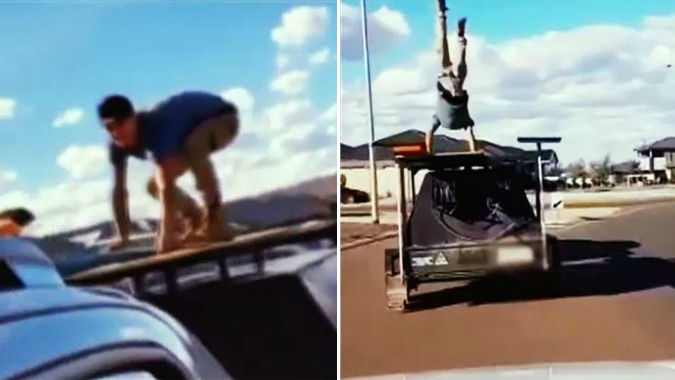 Tradie's reckless 'trailer surfing' stunt condemned