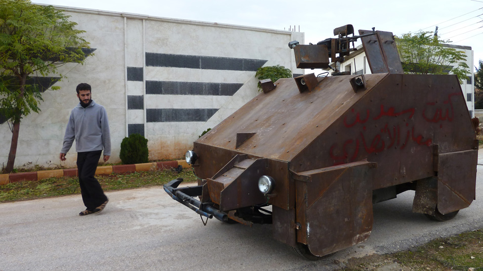 Sham II, a homemade armoured vehicle created by Syrian rebels near Aleppo. (Getty)