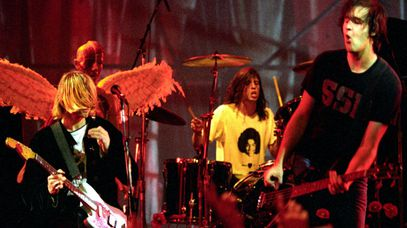 Nirvana in 1993: Kurt Cobain, Dave Grohl and Krist Novoselic. (Getty)
