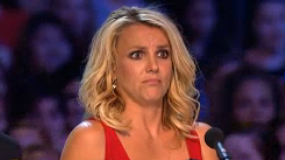Britney Spears reacts to a contestant on X Factor.