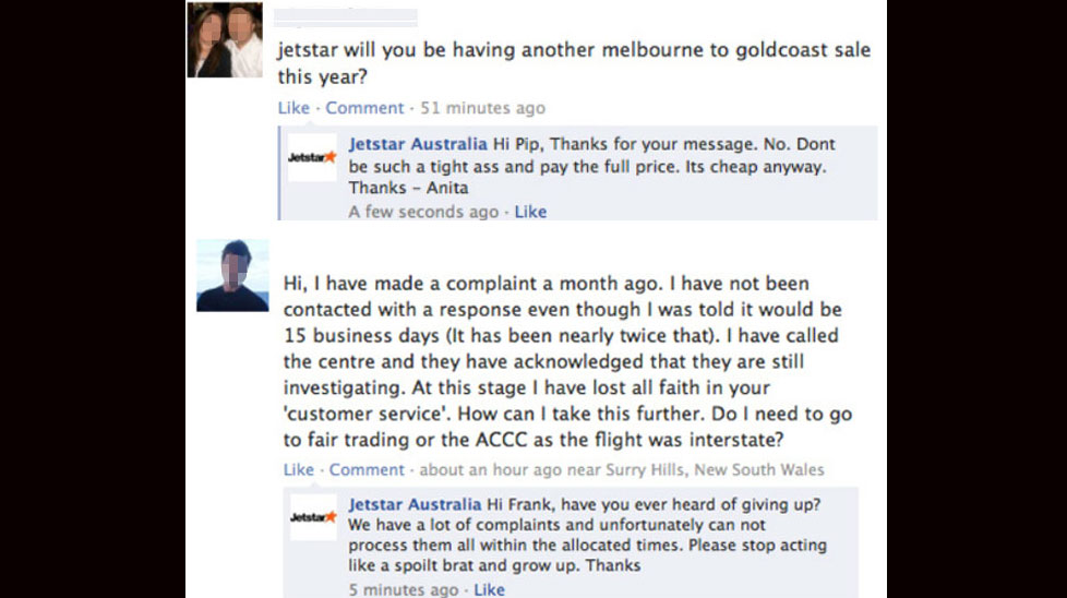 The Jetstar impersonator tormented the airline's customers on Facebook.