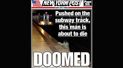 The New York Post's front page photo has been criticised.