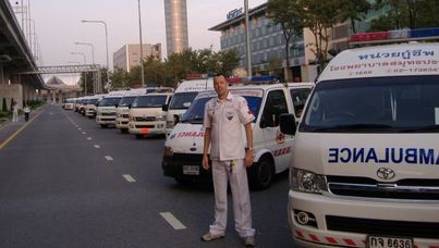 Marko Cunningham operates a free ambulance service in Bangkok and also assists in body care and collection for people who die in Thailand, especially foreigners. He is the author of the book 'Sleeping with the Dead'.