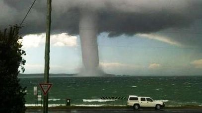 A photo of the waterspout tweeted by the NSW Rural Fire Service.