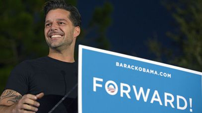 Ricky Martin campaigning for Barack Obama during the 2012 election. (AAP)