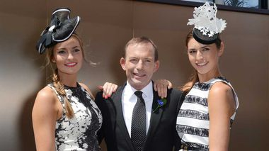 Federal opposition leader Tony Abbott with his daughters Bridget and Frances. (AAP)