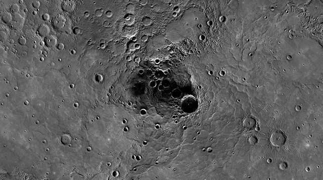 A large crater in the north polar region of Mercury which has been shown to harbour water ice. (NASA/Johns Hopkins University Applied Physics Laboratory/Carnegie Institution of Washington)