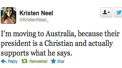 US teen, Kristen Neel tweets she wants to move to Australia because we have a Christian, male president