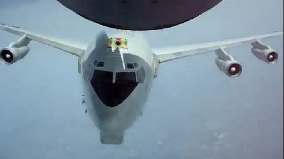 A NATO E-3 Sentry almost hit a tanker during a refueling operation.