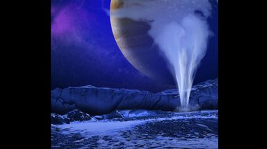 An artist's concept of a plume of water vapor thought to be ejected off the frigid, icy surface of Jupiter's moon Europa. (NASA)