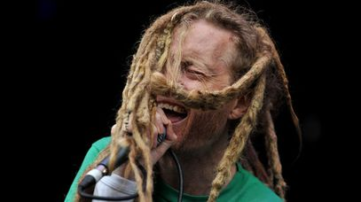 Frenzal Rhomb's Jay Whalley performs at the Big Day Out in 2012. (AAP)