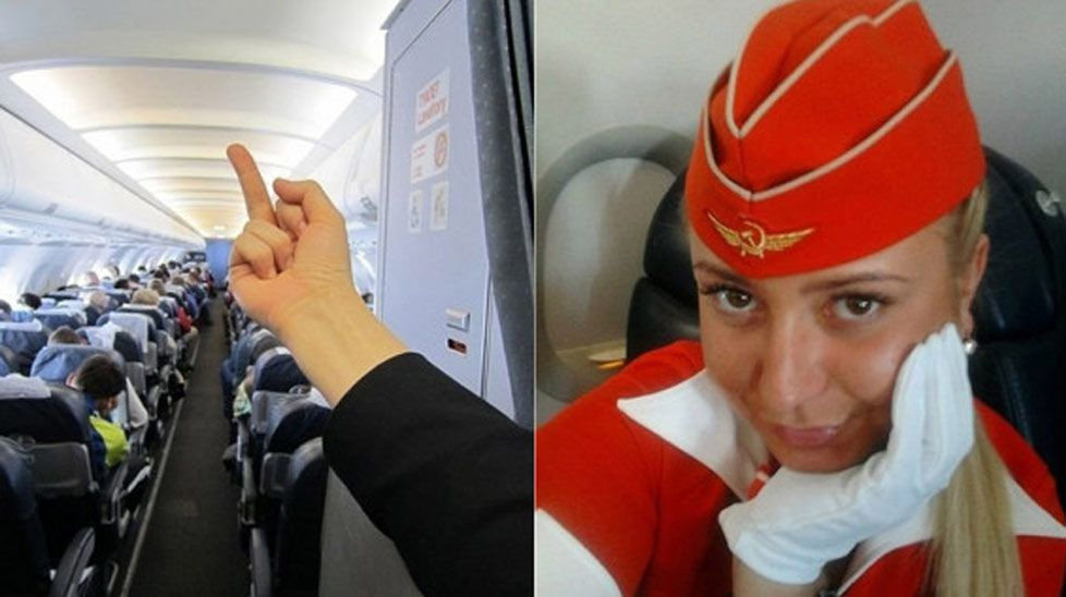 This photo understandably cost Russian flight attendant Tatiana Kozlenko her job.