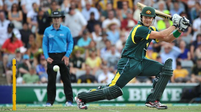 Shane Watson during the one-day international match between Australia and the West Indies yesterday.