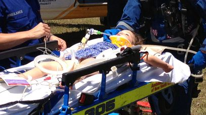 The young girl being airlifted to hospital. (Image courtesy CareFlight)