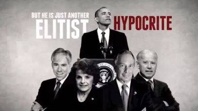 Barack Obama was labelled an 'elitist' hypocrite in a recent NRA ad. (Image supplied)
