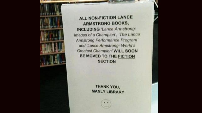A photo of the sign at Manly Library.