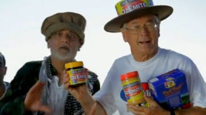 An actor depicting an asylum seeker with Dick Smith.