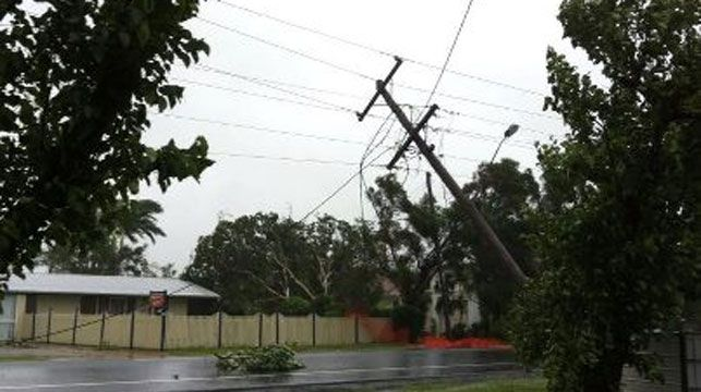 A fallen power pole in Bargara.