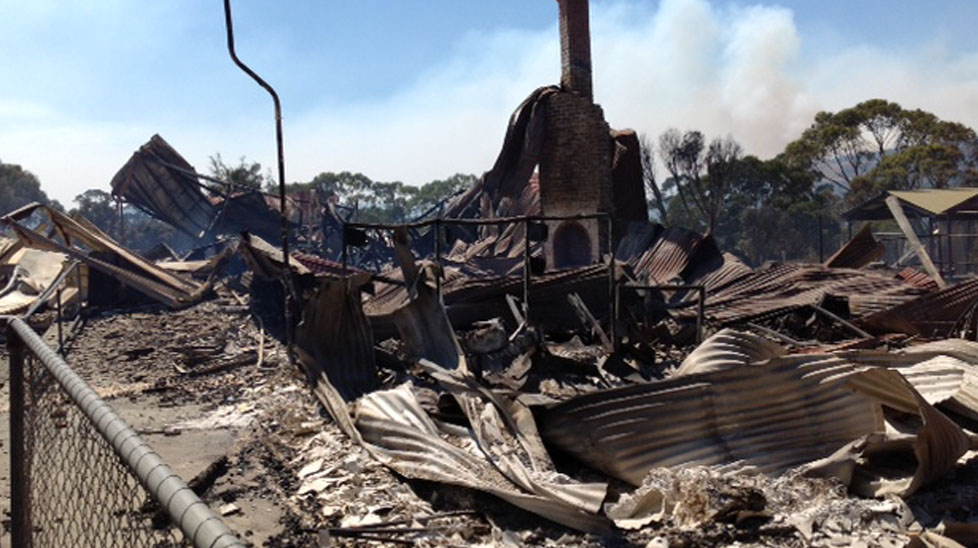 Around 70 properties were destroyed in the Tasmanian town of Dunalley. (Jarrod Koh, Nine News)