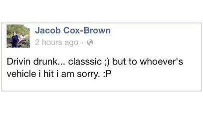 Jacob Cox-Brown was arrested after he posted he was driving drunk on Facebook