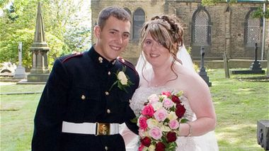 Murdered British soldier Lee Rigby and Rebecca Metcalfe at their wedding in October 2007.
