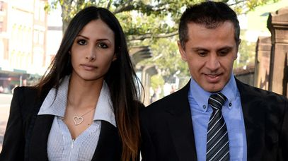 Simon Gittany arrives at the Supreme Court with his girlfriend Rachelle Louise. (AAP)