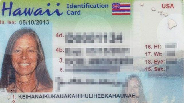 Janice 'Lokelani' Keihanaikukauakahihuliheekahaunaele's name has been trimmed in her latest ID card.